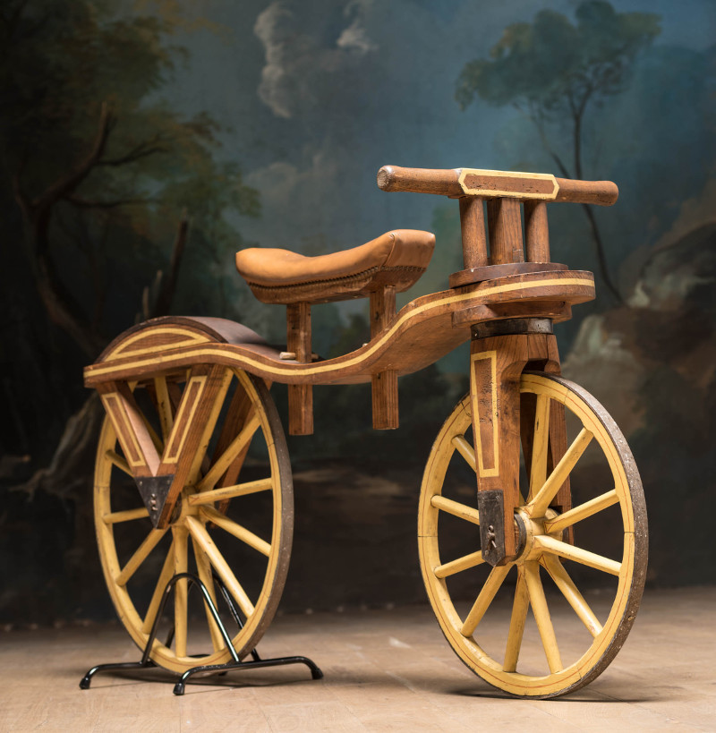 the history of a bicycle as a vehicle invented by comte mede de sivrac of france The first bicycle called velocipede was built by the french nobleman comte de sivrac in 1791  it had two wheels, a saddle and was foot powered another bicycle was invented in 1817 in germany by baron von drais  it was made of wood and had a steerable front wheel without a pedal.